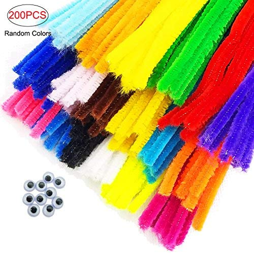 "Ldoux 200PC Crafting Pipe Cleaners Chenille Stems Bundle Kit12""*6mm,10Pcs Wiggle Eyes DIY Art Supplies for Children's Craft Projects, Paper Crafts, Holiday Crafts Suppliers"