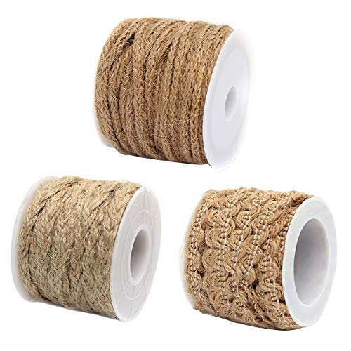 Jute Twine - 1 Roll 5m Natural Hessian Jute Twine Rope Burlap Ribbon Diy Craft Vintage Wedding Party Birthday - Decor Wedding Crystal Tape Natur Ribbon Jute Ribbon Burlap Jute Jute Rattan Ribbon Crystal Tape