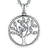 JO WISDOM damen Halskette 925 Sterling Silber Zirkonia Kristall Baum des Lebens Yggdrasil Anhänger mit Kette mit weißem Gold überzogen, Größe: 21mm, Kette: 45-50cm, einstellbar