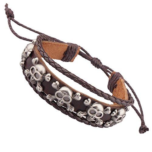 TRIXES Bracciale, fascia da polso unisex in cuoio marrone con teschi metallici applicati