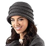 Kamea Palermo Dame Hut Wintermütze Kopfbedeckung, Dunkelgrau,Uni