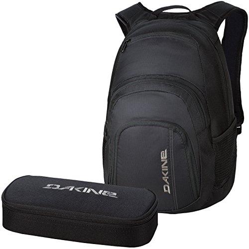 DAKINE 2er SET Laptop Rucksack Schulrucksack 33l CAMPUS LG + SCHOOL CASE XL Mäppchen Blac