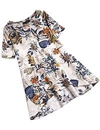 8003e0f4974 Toamen Womens Plus Size Floral Print Dress Sale Casual Vintage Short Sleeve  Irregular Shirt Dress