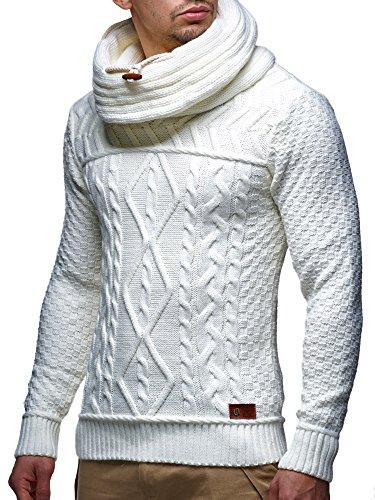 LEIF NELSON Herren Pullover Strickpullover Hoodie Sweatshirt Pulli Schalkragen LN7025N; Gr_¤e M, Weiss/Beige
