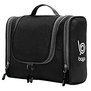 Bago Travel Toiletry Bag for Men Women and Kids. A Perfect Hanging Cosmetic Pouch/Toiletries Organiser for Home/Overnight Make Up Kit (Black)