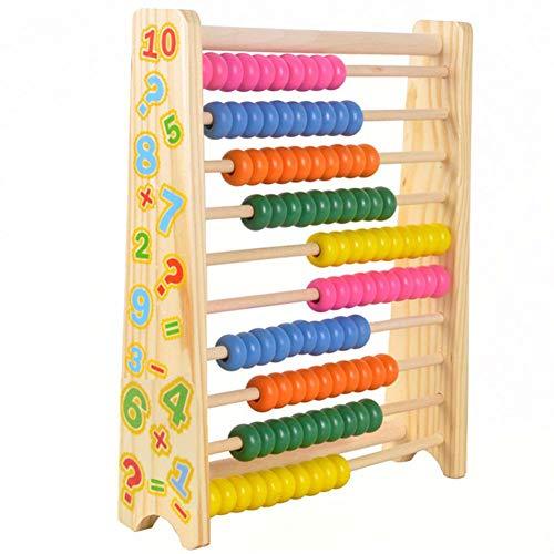 T-MEKA Abakus mit 100 Perlen Rechenrahmen Zählrahmen aus Holz spielerische Rechenhilfe ab dem 1. Schultag, Lernspielzeug Mathe, ab 3 Jahren.