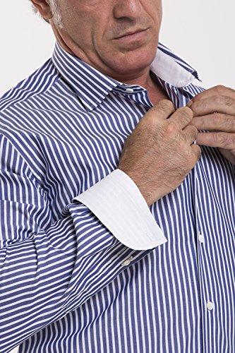Atelier Boldetti - Camicia Uomo a Righe Larghe, Slimfit A Righe Blu su Bianco