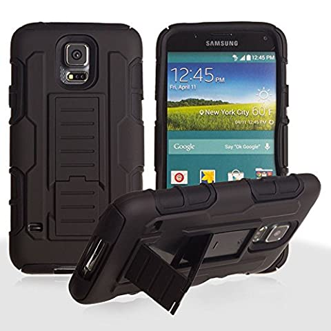 CellularOutfitter Samsung Galaxy S5 Xtreme Armor Rugged Case and Holster Combo Phone Case - Thermoplastic Polyurethane, w/ Built-In Kickstand - Black