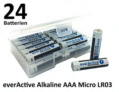 NEMT Flachbox mit 24 X everActive Micro AAA LR03 MN2400 MX2400 Alkalinebatterien 1200 mAh