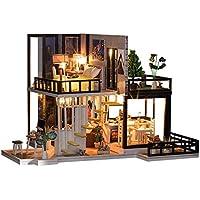 Hochwertig Spilay DIY Miniatur Puppenhaus Holzmöbel Kit,Handgemachte Mini Moderne  Duplex Modell Mit Staubschutz U0026