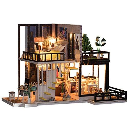 Spilay DIY Miniatur Puppenhaus Holzmöbel Kit,Handgemachte Mini Moderne Duplex-Modell mit Staubschutz & Spieluhr,1: 24 Scale Kreative Puppenhaus Spielzeug für Kinder Geschenk