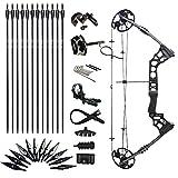 Sportsmann Tir à l'arc Archery Compound Bow Composé Arc 20-45lbs en haut flèches Réglable accessoires kit chasse en plein air et des flèches Adulte (Noir, gaucher)