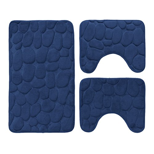 Set 3 pz tappetini da bagno antiscivolo sassolini tappeti memory foam new s159 blu