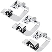 Decdeal 3Pcs Wide Foot Set Hemmer Adjustable Rolled Hem Snap-On Presser For Domestic Sewing Machine Parts Household Patchwork Crochet acessorios Snap On Presser Feet Kit