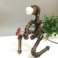 Wandlampe Kronleuchter Retro-Stehlampe Touch-Bedsi Kreative Tisch, Schreibtisch-Lampen-Licht-Antike Industrial Metal Wasserrohrnachttischlampe Umwerbung Modellierung Roboter Weiches Licht Augenschutz