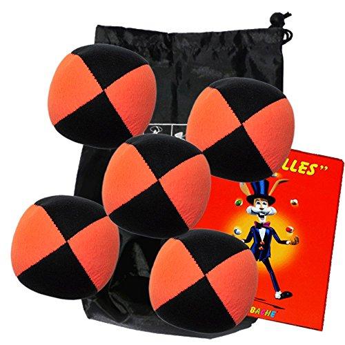 Lote 5 bolas de malabares malabares Flash Pro naranja / negro (4 caras) en la bolsa de terciopelo completo y un folleto de 24 páginas en