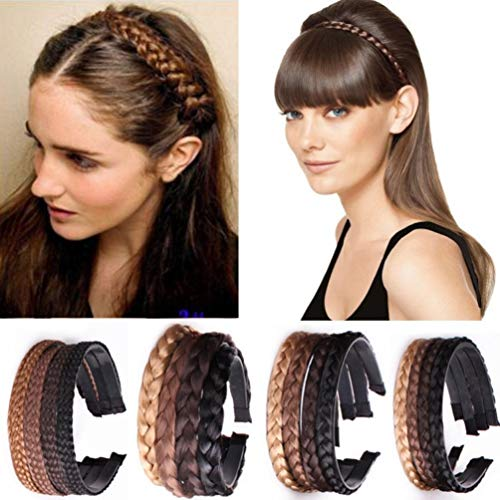 Haarreif aus Kunsthaar geflochten, Zopf, Haarschmuck, Haarteil (schwarz), 1,5 cm breit -