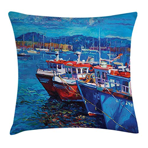 MSGDF Country Throw Pillow Cushion Cover, Sail Boats Ships on The Shore Harbor by The Sea Small Rural Fishing Town Art Work, Decorative Square Accent Pillow Case, 18 X 18 inches, Navy Red