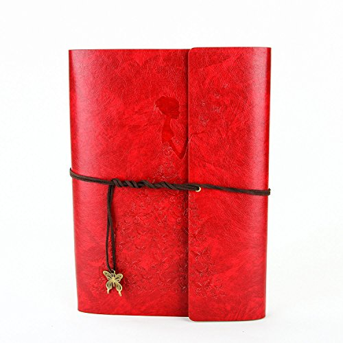XIUJUAN Fotoalbum zum Selbstgestalten Leder Scrapbook Album Schwarze Seiten Fotobuch Fotoalben zum Einkleben, Weihnachts Valentinstag Geburtstag Jahrestag Geschenk für Frauen Mama, Mädchen Groß Rot