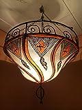 Orientalische Lampe Pendelleuchte Hängeleuchte Fatinah Natur 40cm | Marokkanische Lederlampe Hennalampe Leuchte mit Henna | Orient Lampen für Wohnzimmer Küche oder Hängend über den Esstisch