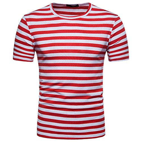 FAMILIZO Camisetas Manga Corta Hombre Moda Camisetas Hombre Algodón Camisetas Hombre Verano Blusa Hombre Manga Corta Tops Camisetas Hombre Rayas T Shirts For Men Blusa Hombre Blanca (M, Rojo)