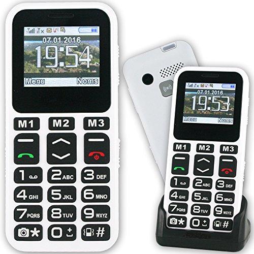 Mobiho-Essentiel le CLASSIC MAX 2, Seniors - Un modèle COMPLET et SIMPLE à la fois avec un beau design blanc, bonne prise en main et : Grosses touches - blocage clavier facile - un son classique - Bluetooth - APPAREIL PHOTO ET VIDEO- emplacement carte micro SD - SMS (pas MMS) - Ecran couleur, Chiffres écrits gros sur l'écran très bon contraste - 11 raccourcis appel direct touches M1 à M3 et 2 à 9 - Bouton SOS, torche, Base de chargement - Débloqué tout opérateur toute carte SIM.