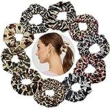 YKULEW 10 pezzi Scrunchies per capelli leopardati Velvet Elastico con stampa animalier Scrunchies Fasce per capelli Fasce per