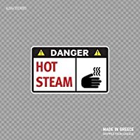 Beach345sley Danger Hot Steam Quality Signage Safety Sign Industry X428W Funny Sticker Decal 7x6 inch
