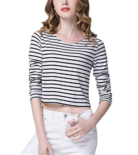 Brinny femme chemise rayée T-shirt au printemps Blanc