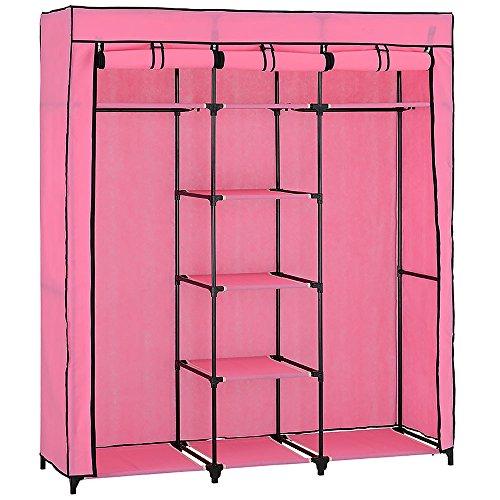 [neu.holz] Faltschrank Kleiderschrank (175 x 150cm)(rose-pink) Schrank Textil - Kleiderschrank ideal für Saisonware und Studenten