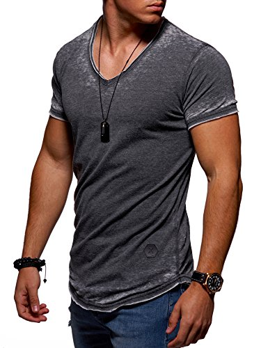Ombre-Eight Herren Oversize T-Shirt V-Neck O-211 [Schwarz, L] (Wash Schwarzes T-shirt)