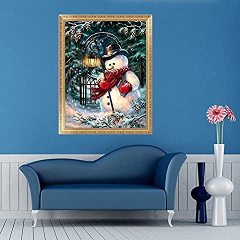hndhui 5D Diamant Malerei Weihnachts-Schneemann Stickerei Kreuz Bricolage Décor de Weihnachten Punkt Warm Diamant DIY Kreuzstich-Kunstharz Dekoration von Haus Wohnzimmer