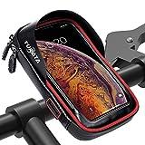 TURATA Sacoche Vélo Guidon Sac Imperméable Sac Support Étanche pour Téléphone Portable Écran Tablette Rouge