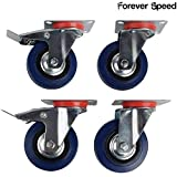 Forever Speed Ruedas Pivotantes de Transporte Ø 75mm Ruedas Giratorias para Carritos Muebles Con 2 Freno Negro/Azul Lote de 4 Soportan 70 kg por Rollo