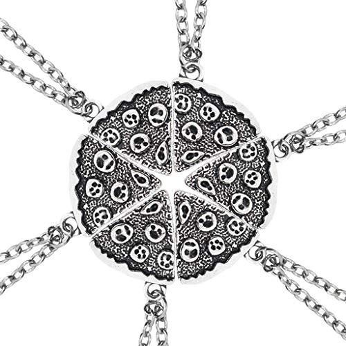 r 6 Stücke Pizza Silber Anhänger Halskette Pizza Bester Freund Für Immer Halskette Weibliche Mode Dreieck Lebensmittel Freundschaft Geschenk SLZT ()