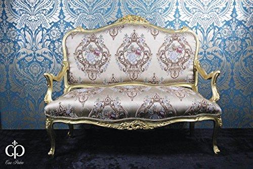 Casa Padrino Barock Sofa Creme Muster/Gold - Italienischer Stil - Barock Möbel - Unikat!