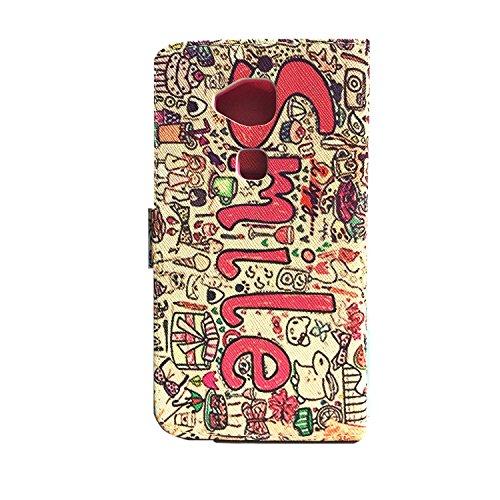 iPhone 5C Hülle, iPhone 5C PU Leder Hülle Tasche Muster Lederhülle Handyhülle Stand Brieftasche Folio Case Cover, SainCat Premium Design Luxus Weich Ledertasche Wallet Flip Etui Schutzhülle im Booksty Brown Lächeln