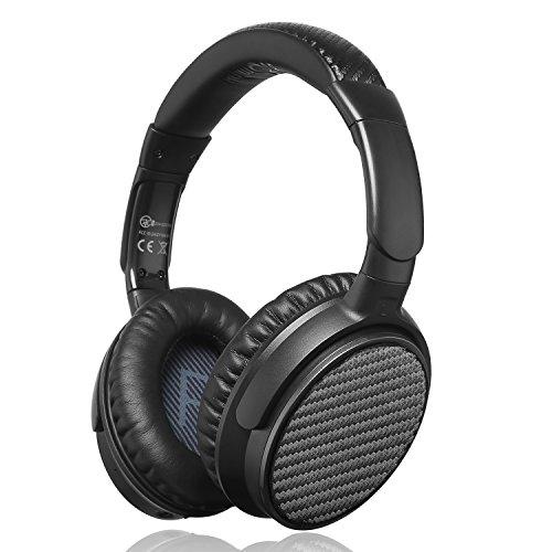 iDeaUSA Active Noise Cancelling Kopfhörer mit Bluetooth 4.1, Apt-X und eingebautes Mikrofon, Wireless HiFi Stereo Over-Ear Headset – Schwarz