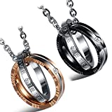 "Best Regalo de aniversario para parejas - Cupimatch 2pcs acero inoxidable parejas collar cz ""amor Review"