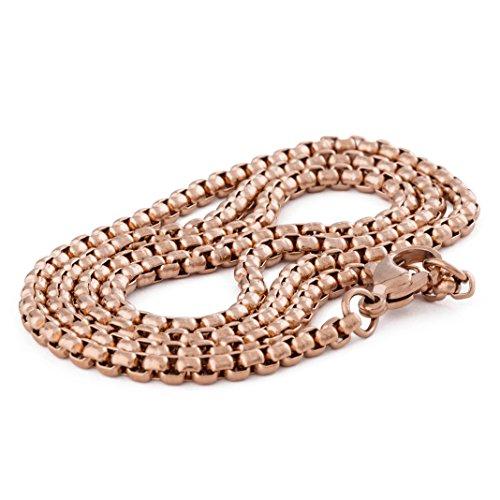 Akitsune Baca Kette 50cm | 3mm breit | Halskette Frauen Herren Box Rolo Edelstahl Karabiner Minimalist Herrenhalskette - Rosegold - Herren-marine-ring