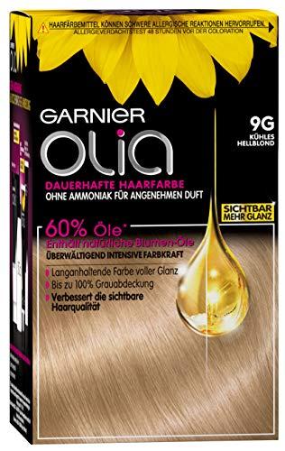 Garnier Olia 9G Kühles Hellblond, Dauerhafte Haarfarbe mit natürlichem Öl, Haare färben ohne Ammoniak, 3er pack (3 x 1 Stück)