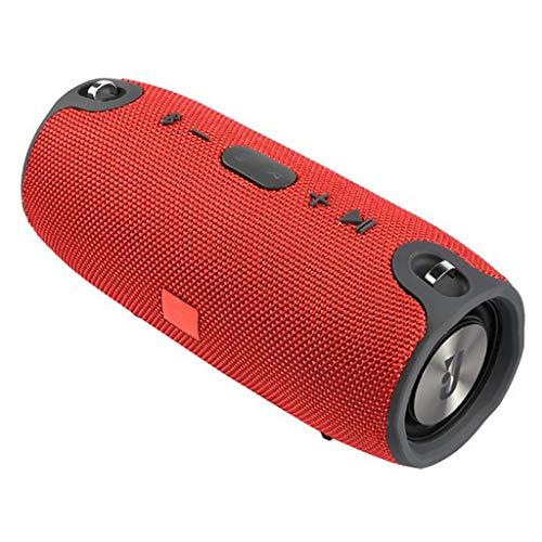 Musikbox Tragbarer Bluetooth-Lautsprecher Drahtlose Bass-Säule wasserdichte Unterstützung für Außenlautsprecher AUX TF USB-Subwoofer-Stereolautsprecher Teufel (Color : Red)