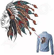 TOTAL HOME DIY Pyrography Heat Press Appliqued Clothing Decoration Iron on Patch Skull Indians Patches (2023cm, Multicolour)