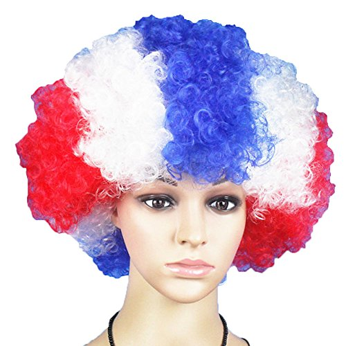 wigs World Cup Flag Boom Kopf Perücke Clown Fans Weihnachten Halloween Prop Perücken Ball Headwear...