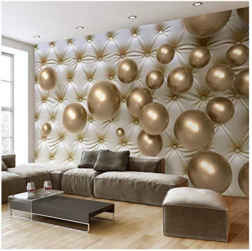 Benutzerdefinierte Wandbild Tapete Europäischen Stil 3D Stereoscopic Golden Ball Soft Pack Kunstleder Fototapete Wohnzimmer (12-zoll-strand-ball)