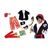 Fancy Steps Kids Boys Pirate Costumes With Accessories (Select Age Inside) | Cosplay Costumes For Boys |halloween Cosplay Costumes For Kids | Children Cosplay Girl Costumes | Fancy Dress Costume | Kindergarden | Fancy Dress Shop | Baby Show Event (Accesso