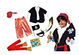 #9: Fancy Steps kids boys pirate costumes with accessories (Select Age inside) | cosplay costumes for boys |halloween cosplay costumes for kids | children cosplay Girl costumes | fancy dress costume | kindergarden | fancy dress shop | baby show event (Accessories - pirate eye patch, Lower, upper, headgear, hand flag, sword, treasure map, waist knot) (4-5 Years)