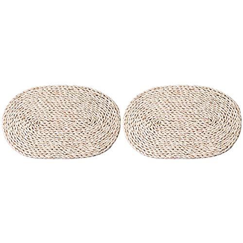 TOOGOO 2 Stuecke Von Mais Stiel Gewebte Tisch Set Auf Dem Tisch, Ovale Tisch Set, Natuerliche Stroh Webart, Hand Gewebte Tisch Set (30 X 45 cm)