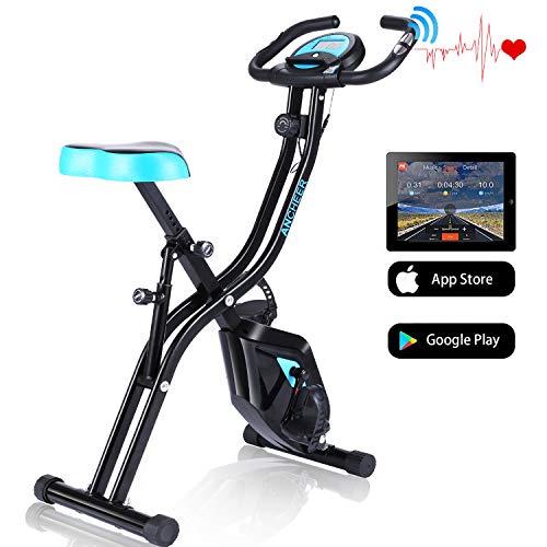 ANCHEER APP Control Heimtrainer F-Bike, klappbares Fitnessbike, Fitnessfahrrad, Fahrradtrainer für zuhause, Hometrainer mit 10-stufig einstellbarem Magnetwiderstand und bequemem Sitz