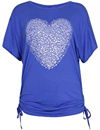 Womens Heart Printed Sequin Ladies Stretch Short Batwing Sleeve Round Neckline Tie T-Shirt Top Plus Size
